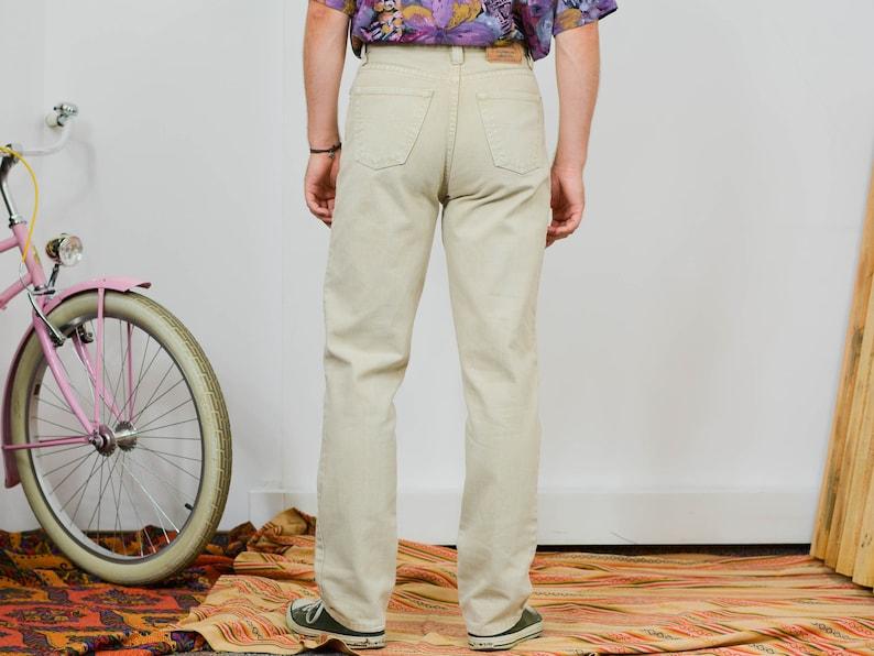 Beige jeans W32 L34 vintage 90/'s Angerlino heavyweight denim cotton high waist waisted pants straight fit leg 90/'s M Medium