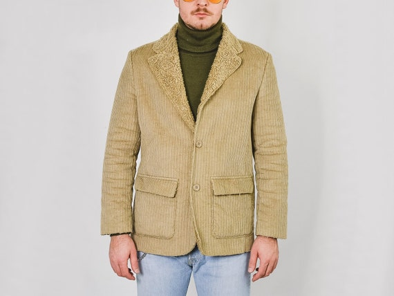 MEXX Corduroy jacket Vintage 90's faux shearling … - image 2