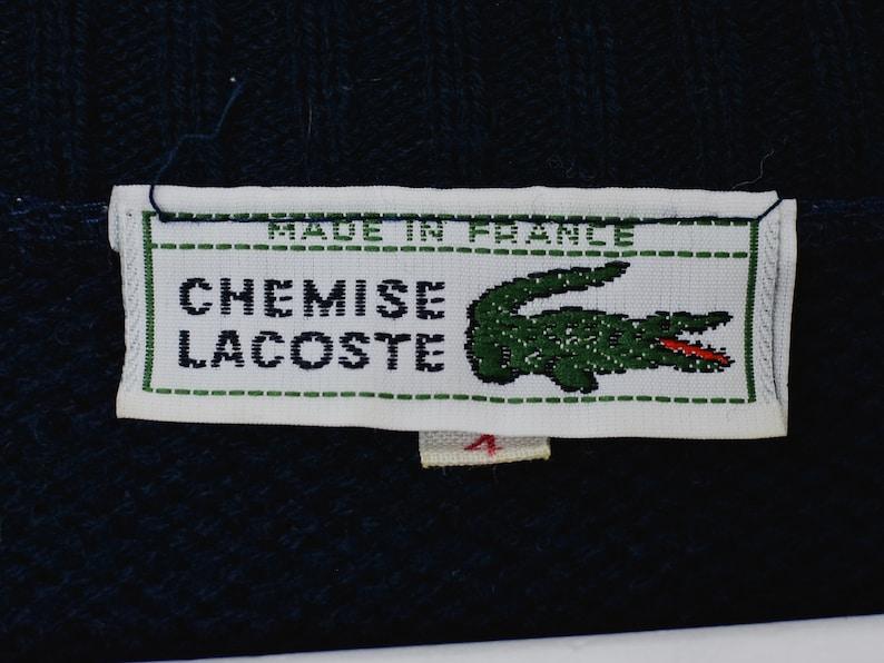 Lacoste sweater Vintage 90/'s vintage navy blue preppy La Chemise Crocodile pullover V neck SM