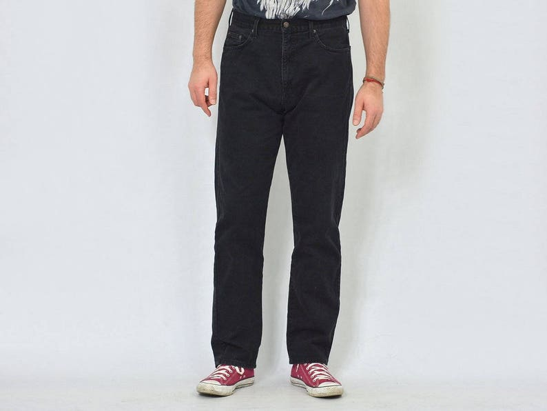 24eb67c47 Lee Cooper jeans W36 L32 Black vintage super high waist waisted pants  straight fit black hipster unisex 1990's XL