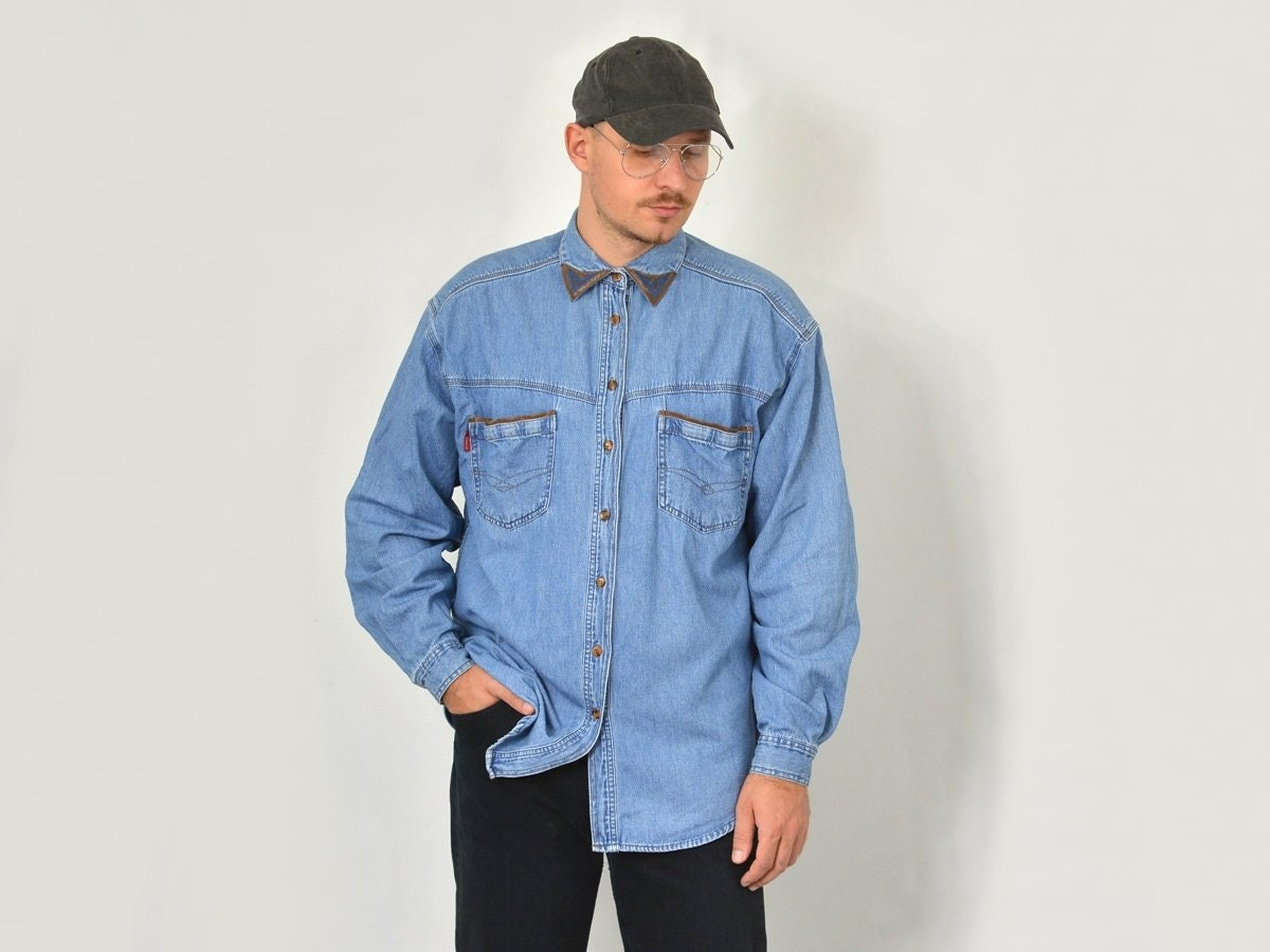 Vintage Denim Shirt Blue Jean Western Button Down Up Etsy