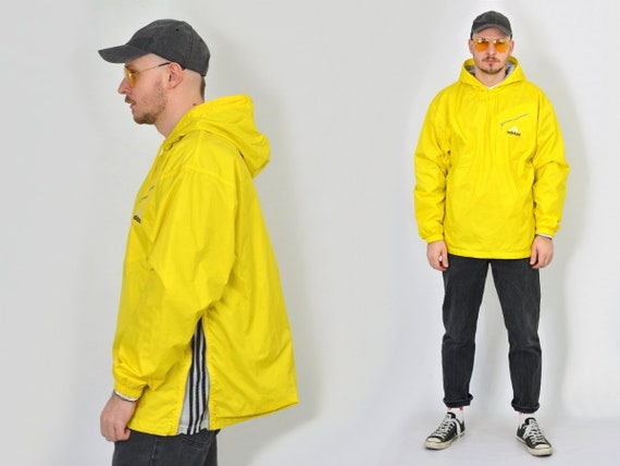 Sport three windbreaker hooded brand with stripes hipster Vintage Adidas Yellow L oversized jacket 90s Large track wvWqR4nI5