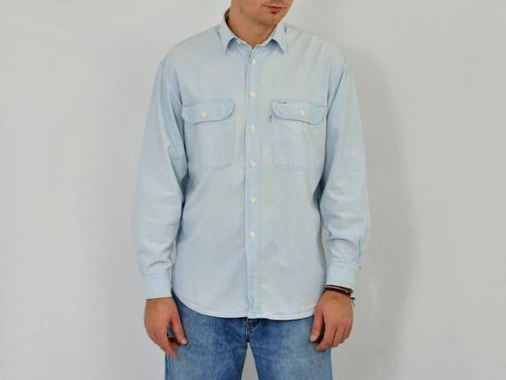 2ee2e11ba Levis Koszulka Blue Cotton rocznika Jean przycisk w dół do | Etsy