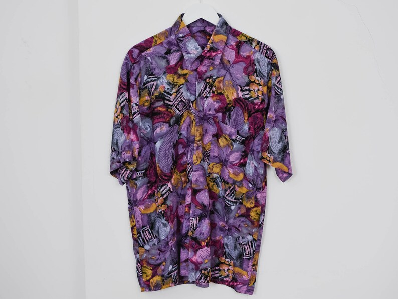 Purple shirt vintage 80/'s men floral print short sleeve Printed button up down hipster L Large