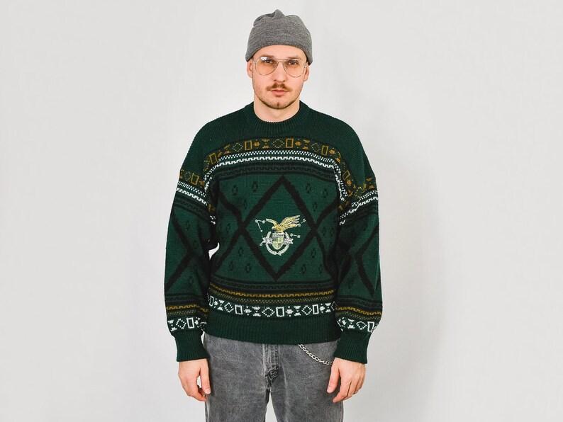 Eagle sweater 80/'s pullover Vintage norwegian pattern geometric zig zag green men LXL