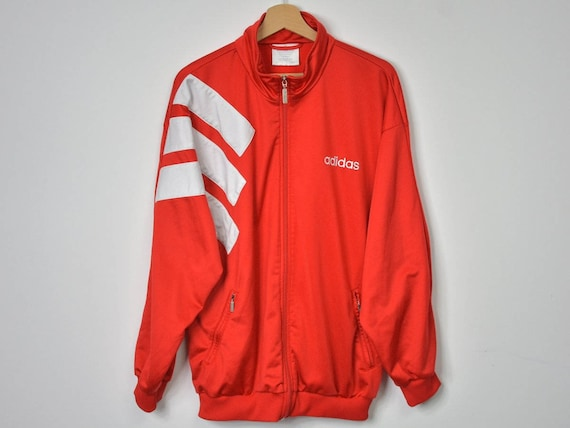 unisex Sport Vintage Red navy sweatshirt L Adidas retro Three jacket zip Tracksuit track 3 Large stripes Top up blue oldschool 90s hipster wWSnxWpH4q