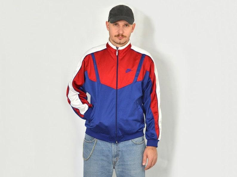 d438157a13 NIKE Tracksuit top bright sweatshirt full zip oldschool Sport 90s retro  Vintage hipster blue red zip up unisex M Medium