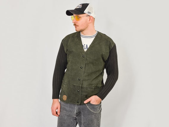 Leather sweater Vintage 90's green cardigan italia