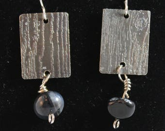 Etched earrings with glass ball. (061617-012)