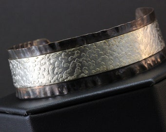 In Vogue Etched Sterling Silver and Textured Copper Cuff Bracelet (031818-008)
