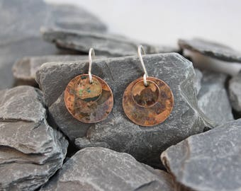 Lovely Copper Patina Oval Earrings (123117-009)