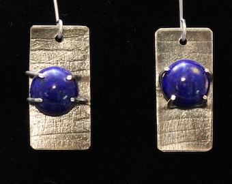 Strikingly Blue Lapis Lazuli Sterling Silver Textured Earrings (030318-016)