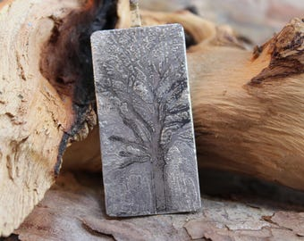 Mighty Oak Tree on Sterling Silver Etched Pendant (123117-004)
