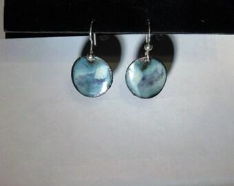 Blue and aqua toned enameled earrings