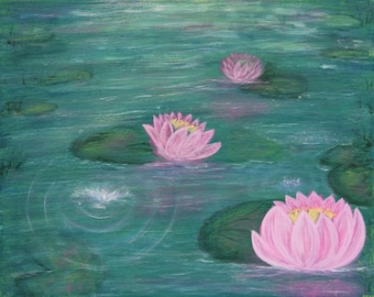 Water lily pond-flowers-pink-ripple-nature-art-original painting-expressionism-blue-greens-beautiful