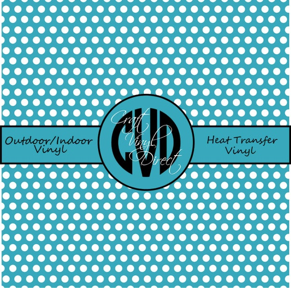 Polka Dot Patterned Vinyl // Outdoor and Heat Transfer Vinyl // Teal Polka Dot Patterned Craft Vinyl and Heat Transfer Vinyl in Pattern 499