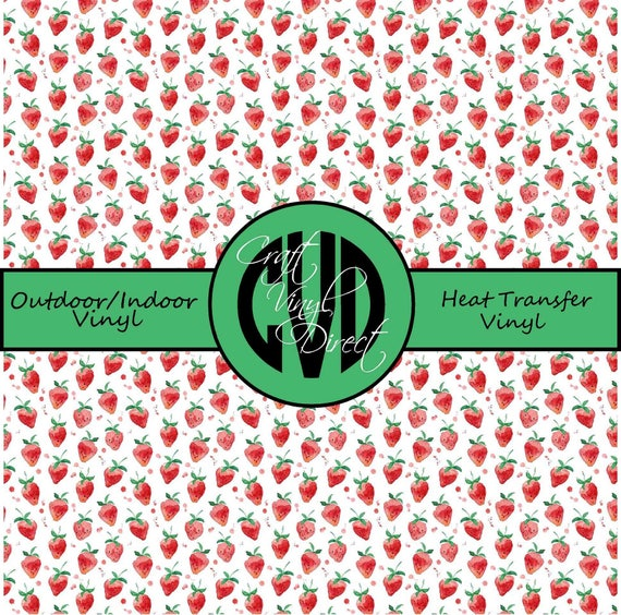 Strawberry Patterned Vinyl // Patterned / Printed Vinyl // Outdoor and Heat Transfer Vinyl // Pattern 650