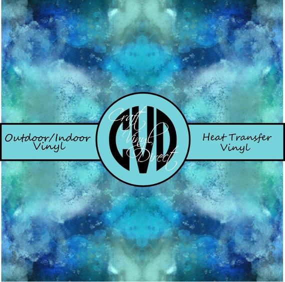 Blue/Teal Watercolor Patterned Vinyl // Patterned / Printed Vinyl // Outdoor and Heat Transfer Vinyl // Pattern 607