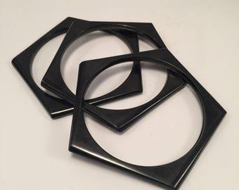 Vintage Black Plastic Pentagon Bangles / Set of 3