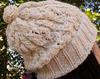Lace Cable Knit Hat - 100% Baby Alpaca