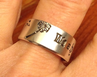 Dandelion WISH Stamped Ring - Custom Hand Stamped Ring - Personalized Ring - Custom Ring - Gift for Her