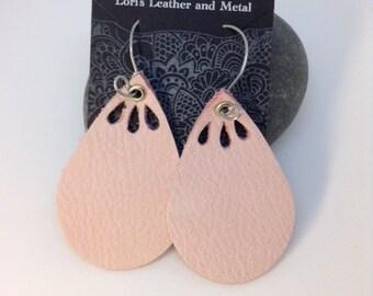 Leather Earrings - Sterling Silver Handmade Ear Wires - Handmade Ear Hoops - Handmade Ear Wires - Pink Leather Earrings - Teardrop Earrings