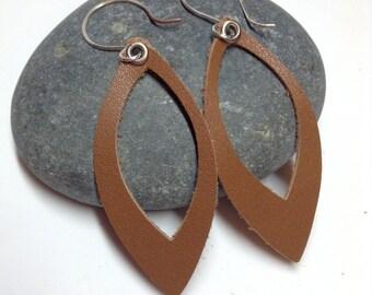 Leather Earrings - Sterling Silver Handmade Ear Wires - Handmade Ear Hoops - Handmade Ear Wires - Brown Leather Earrings - Teardrop Earrings