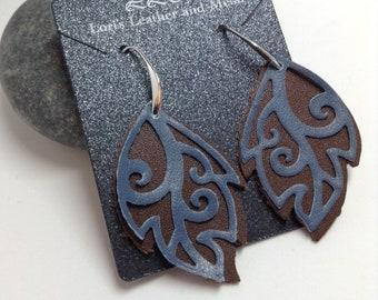 Leather Earrings - Sterling Silver Handmade Ear Wires - Handmade Ear Hoops - Handmade Ear Wires -Brown Blue Leather Earrings - Leaf Earrings