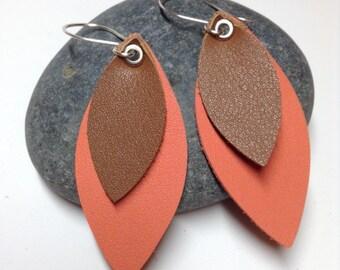 Leather Earrings - Sterling Silver Handmade Ear Wires - Handmade Ear Hoops- Handmade Ear Wires - Layered Leather Earrings- Teardrop Earrings