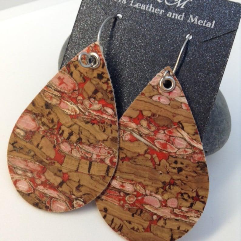 Cork Earrings Red Pink Cork Handmade Ear Wires Handmade Ear Wires- Handmade Ear Hoops Teardrop leather earrings