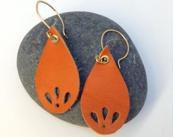Leather Earrings - Sterling Silver Handmade Ear Wires - Handmade Ear Hoops - Handmade Ear Wires - Orange Leather Earrings -Teardrop Earrings