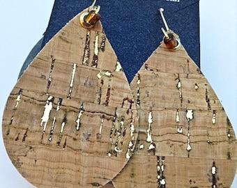 Cork Earrings - Gold Brass Handmade Ear Wires- Handmade Ear Hoops - Handmade Ear Wires - Teardrop leather earrings