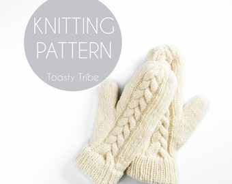 Knitting Pattern PDF/ Meander Mitts Pattern/ Mitten Pattern/ Cable Knit Mittens/ DIY Mittens/ Fleece Lined Mittens