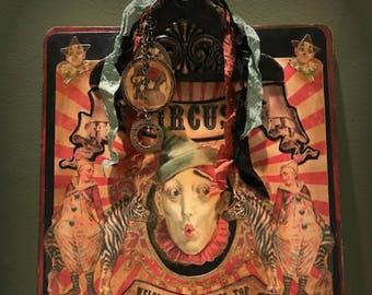Altered Clipboard, Circus Artwork, Clown Clipboard, Vintage Circus