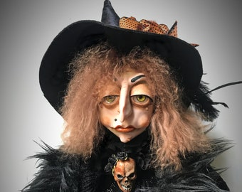 Halloween Witch, Witch Doll, Halloween Decoration, Polymer Clay Doll, Coat Hanger Witch