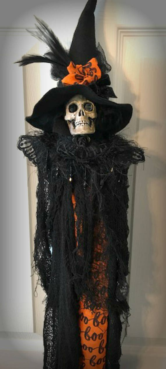 Skeleton Witch Halloween Door Decor