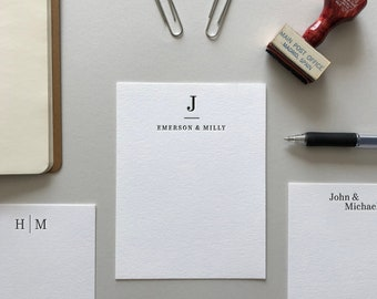 60 Personalized Family Note Cards - Custom Letterpress Stationery