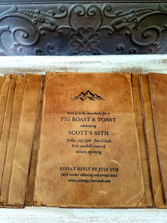 Specialty Leather Invitations Or Cards Birthday Suitable For Framing Bulk Order Discounts Are Significantly Less