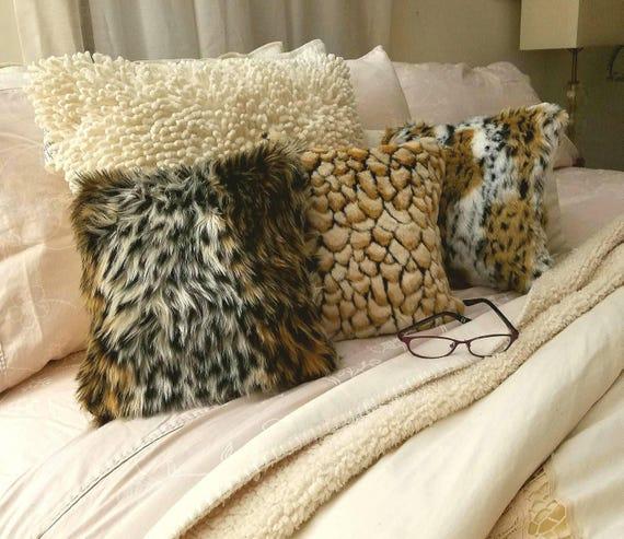 Fur Pillows Animal Print Fur Pillow Farmhouse Decor Home  59bd815e65