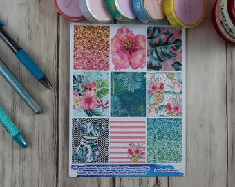 Lush Tropical Weekly Kit Stickers for ECLP Vertical Weekly Layout, No White Space, Deluxe Kit, Tropical Summer Planner Kit