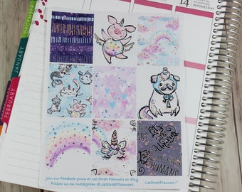 Fantasy Animals Weekly Kit Stickers for ECLP Vertical Weekly Layout, No White Space, Deluxe Kit, Floral Planner Kit