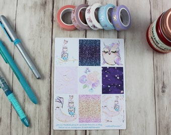 Cute Owls Weekly Kit Stickers for ECLP Vertical Weekly Layout, No White Space, Deluxe Kit, Glitter Owls Planner Kit