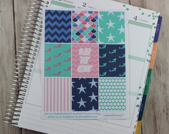 Mermaids Weekly Kit Stickers for ECLP Vertical Weekly Layout, No White Space, Deluxe Kit, Summer Planner Kit