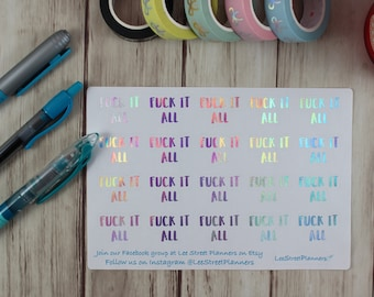 Fuck It All Stickers, Foiled Laundry Stickers, Erin Condren Life Planner Planner Stickers