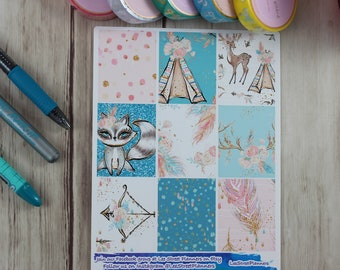 Forest Frenzy Weekly Kit Stickers for ECLP Vertical Weekly Layout, No White Space, Deluxe Kit, Forest Animals Planner Kit