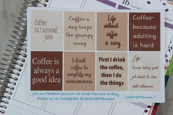 Coffee Quotes Full Box Stickers For Eclp Vertical Weekly Etsy