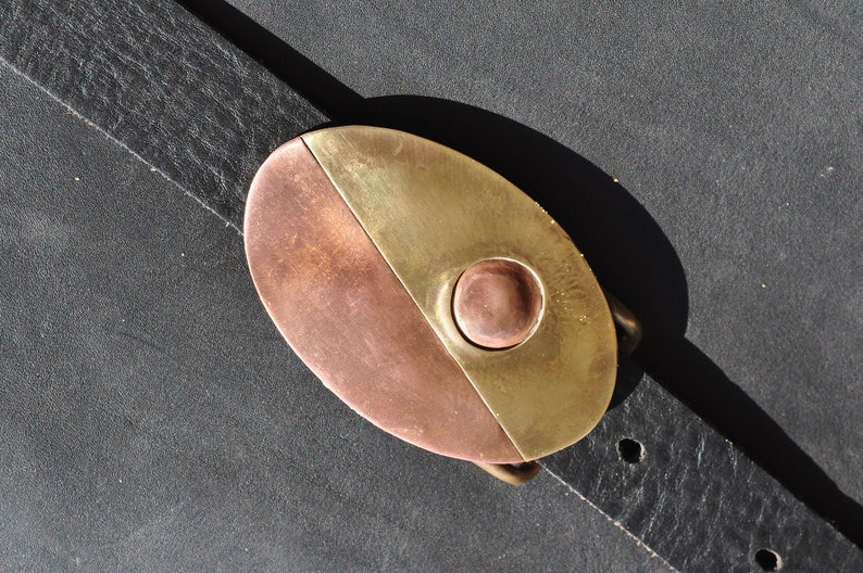 Handmade Belt Buckle in Brass and Copper Ready to ship