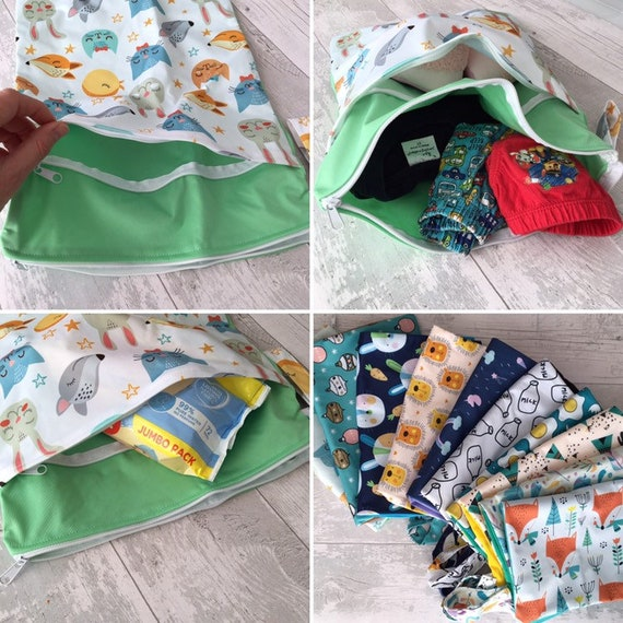 Double Zip Wet Bag Waterproof Baby Cloth Diaper Nappy Dry Bag Pouch Resuable