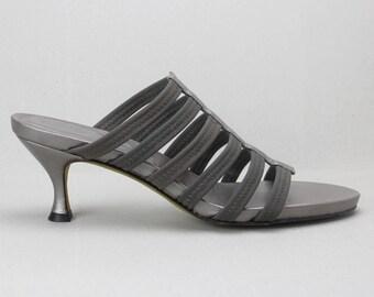 2528f7badd62 vtg 90s gunmetal grey strappy minimalist D.J. PLINER heeled slides US 10