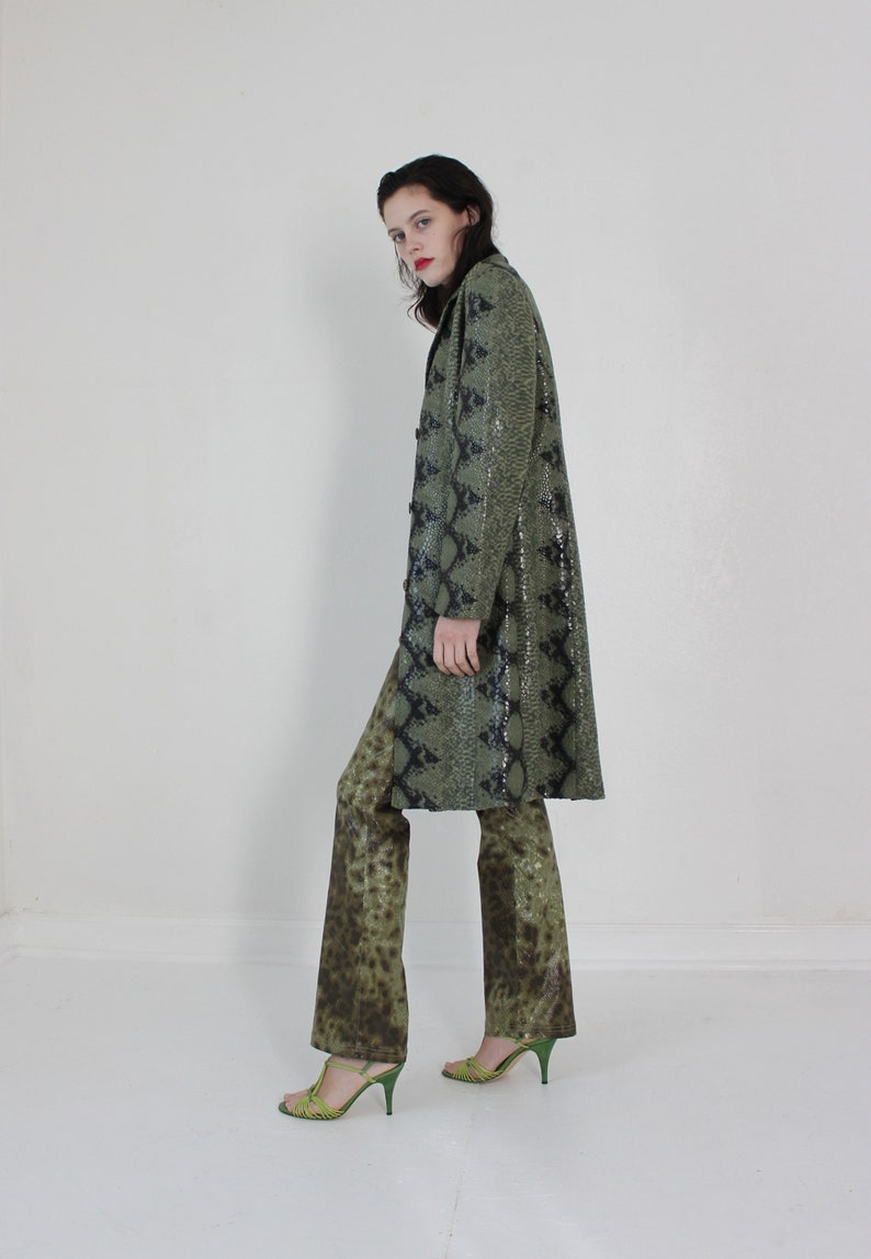 moss green wet look snake print embossed coat S M